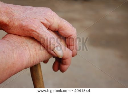 Old Woman Hands With Wrinkled Skin