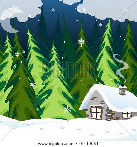 Antigua casa de ladrillo en el bosque de invierno