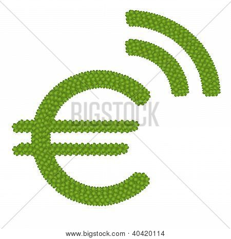A Four Leaf Clover Of Euro Symbol With Rss Sign