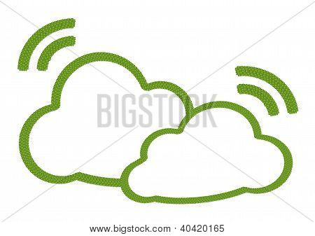 A Four Leaf Clover Of Two Clouds Icon With Rss Sign