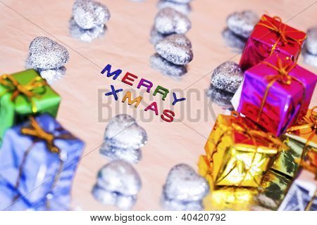 Christmas Presents And Merry Xmas Writing