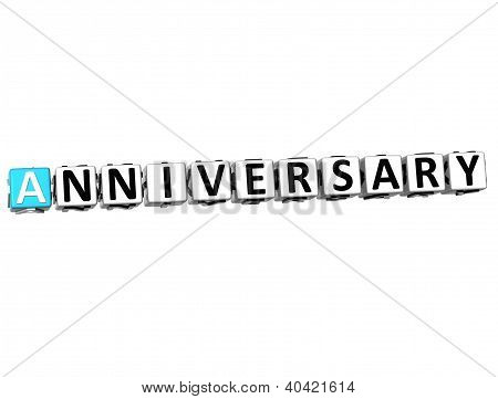 3D Anniversary Button Click Here Block Text
