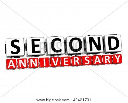 3D Second Anniversary Button Click Here Block Text