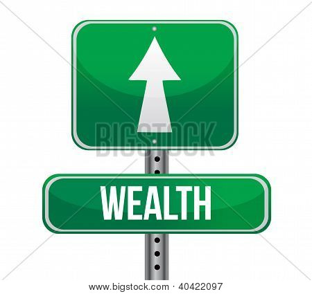 Road Sign With The Word Wealth