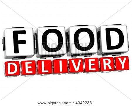 3D Food Delivery Button Click Here Block Text