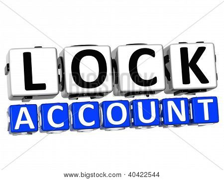 3D Lock Account Button Click Here Block Text