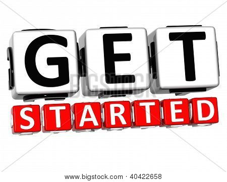 3D Get Started Button Click Here Block Text