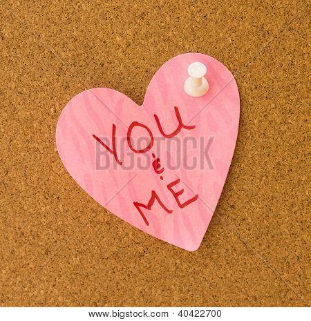 You & Me Pink Heart Memo