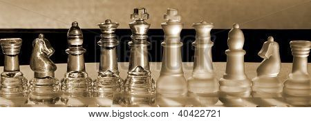 Chess Pieces - Business Concept Series: Strategy, Company, Merger - Panorama.