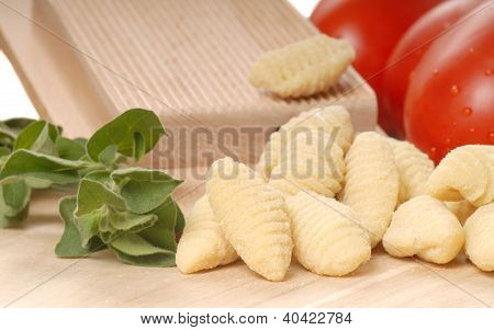 Freshly Made Gnocchi Using A Gnocchi Board