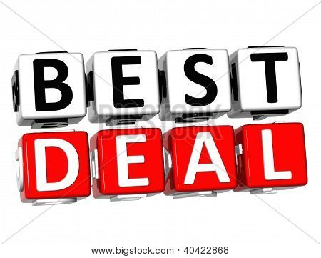 3D Best Deal Button Click Here Block Text