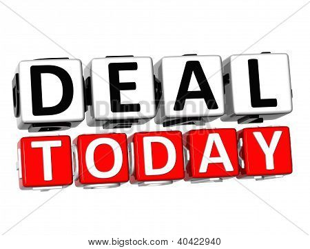 3D Deal Today Button Click Here Block Text