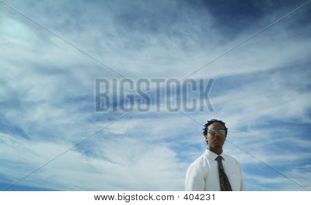 Businessman And Open Sky