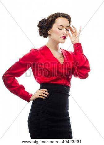 portrait of attractive  caucasian  woman thinking isolated on white studio shot looking at camera