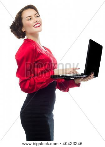 portrait of attractive  caucasian smiling woman isolated on white studio shot looking at camera notebook