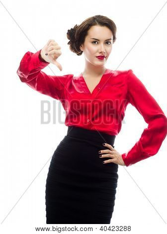 portrait of attractive  caucasian  woman isolated on white studio shot looking at camera thumbs down