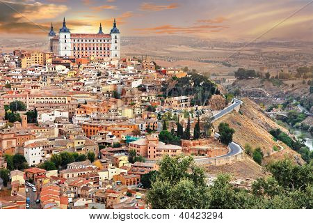 medieval Spain - Toledo over sunset