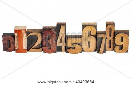 ten arabic numerals zero to nine in isolated vintage wood letterpress printing blocks, variety of fonts