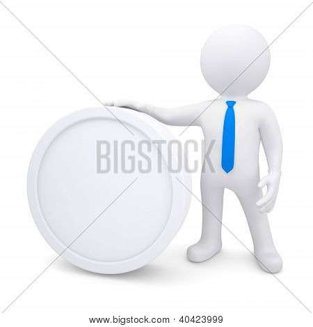 3D Man With A White Oval Frame