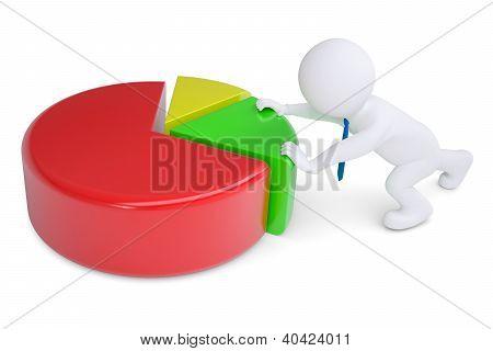 White 3D Man Pushing Graph