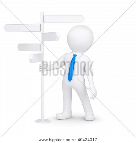 3D White Man Next To The Pointer