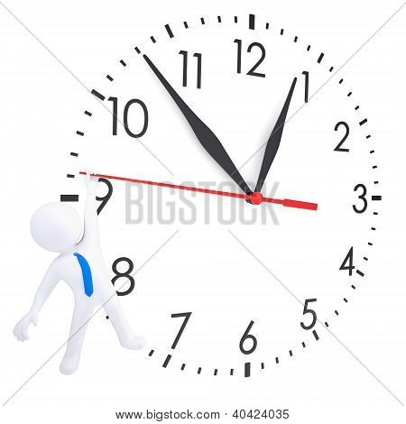 White 3D Man Hanging On Second Hand Watches