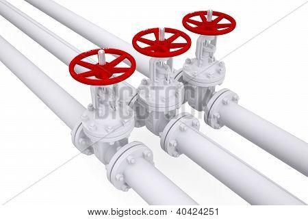 Three Valves On The Pipeline