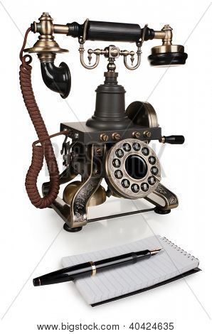 Retro Phone, Pen and Notepad - Vintage Telephone Set isolated on White Background