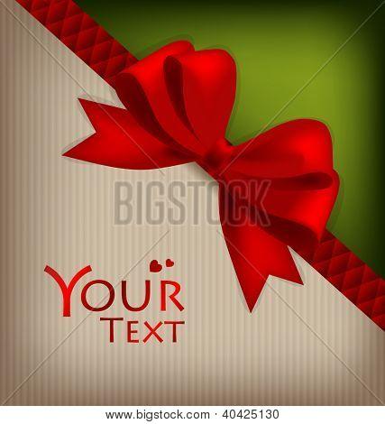 Cartões bonitos com laços vermelhos e fitas, ilustração vetorial.