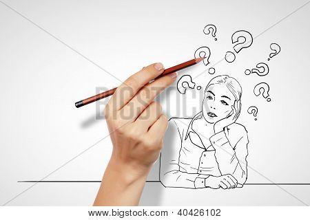 Fragen und Herausforderungen in Unternehmen Zeichnung