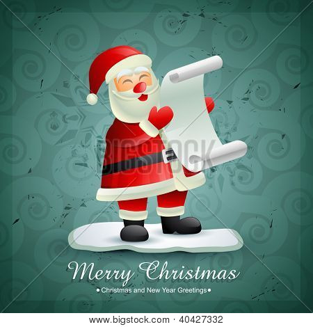 isolated vector santa claus holding list of gifts