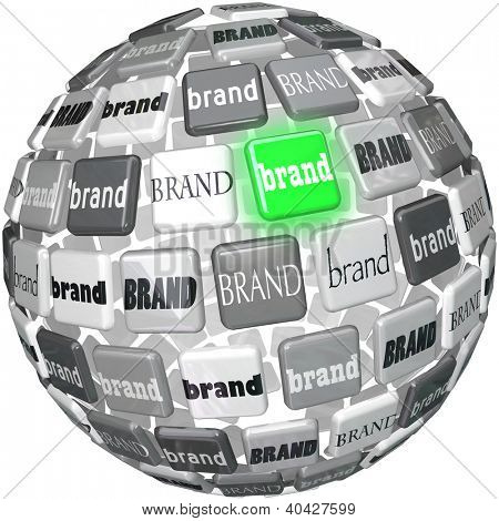 A sphere or ball containing many different brands, with one glowing green to represent the best or top choice in a crowded market of similar products competing for your business