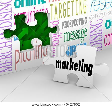 A puzzle piece with the word Marketing is your final answer completing your strategy to growing your business and achieving your goals for growth and success in your market