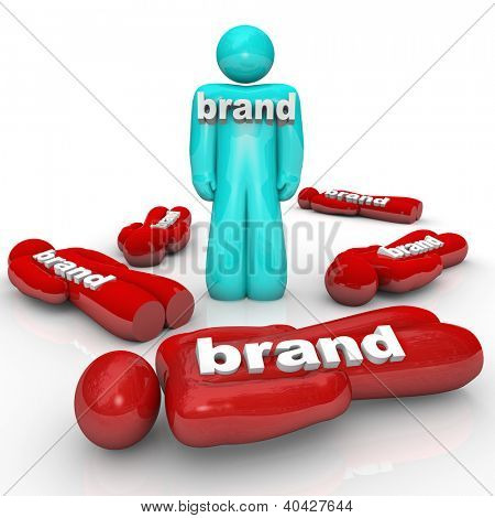 One brand is the market leader and beats the competition as symbolized by one person standing out from a crowd of fallen companies or brands