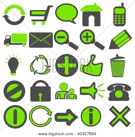 Grey Green Web Icons