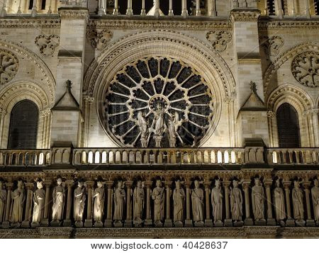 Detail Of Facade Of Notre Dame Of Paris
