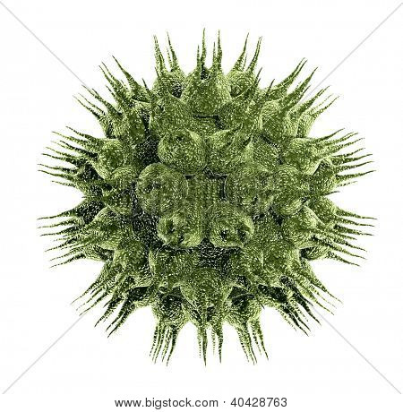 Bacteria virus render in green color isolated on white