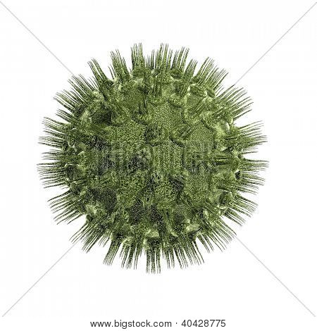 Bacteria virus render in green color isolated on whire