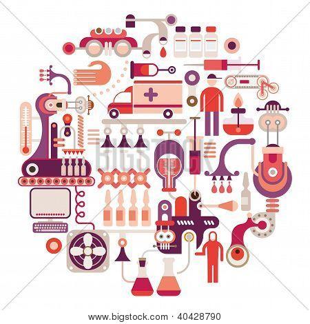 Pharmaceutical Factory - Vector Illustration