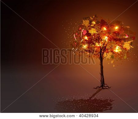black background with a luminous, hand-painted tree