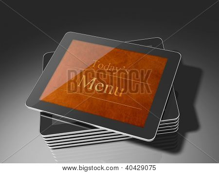 Tablet PC or touch panel computer as a restaurant e-menu.  fully originall 3D render. Buttons have been omitted to avoid giving impression of a specific model.