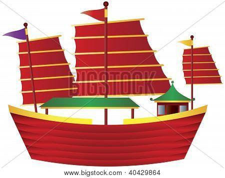 Chinese Junk Sail Boat Illustration