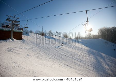 Ski lift over snowy mountain, Sigulda, Latvia, Baltic States, Europe