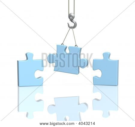 Part Puzzle On Hook Elevating Crane
