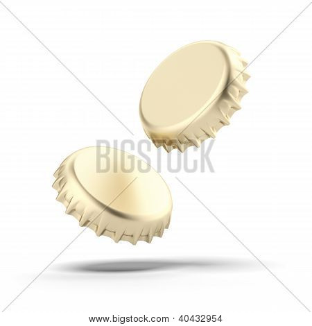Two golden bottle caps