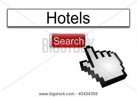 Internet web search engine hotels