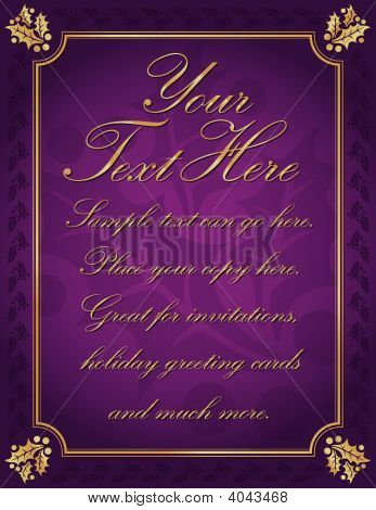 Purple And Gold Holly Bordered Background