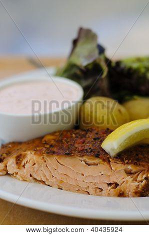 Salmon Fillet, Potatoes And Hollandaise Sauce