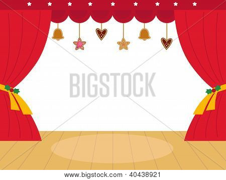 Colorful Christmas Theatre Podium With Decoration
