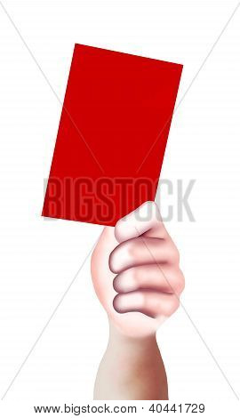 Hand Showing A Blank Of Red Card